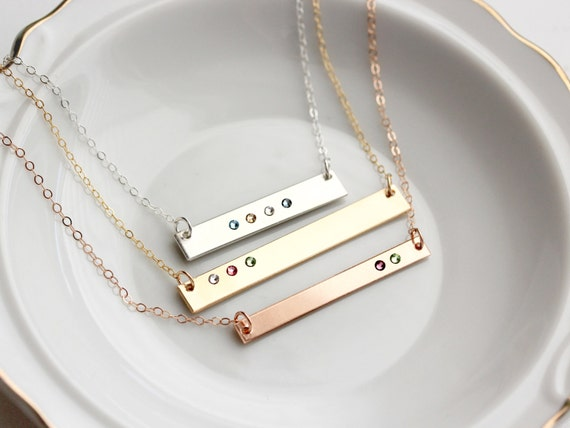 Custom Bar Necklace for Mother/'s Day Nana gift for her Gift for Mom Step Mom Gift Four sided bar birthstone jewelry God Mother Gift