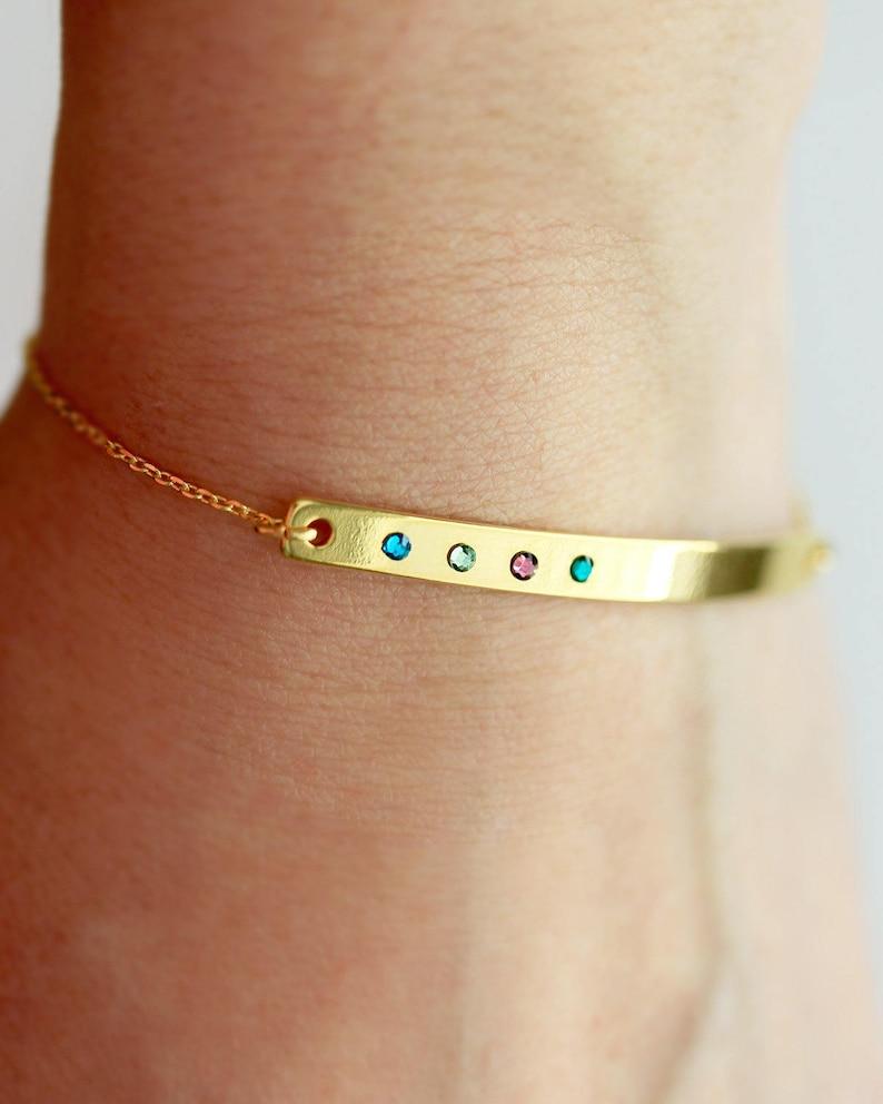 Birthstone Bracelet / Custom Bar Bracelet / Birthstone Jewelry image 0
