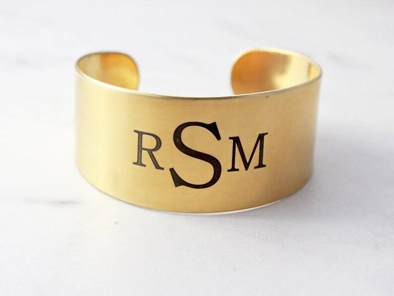 e2754f0f279 Monogram Cuff Bracelet Engraved Cuff Bracelet Personalized | Etsy