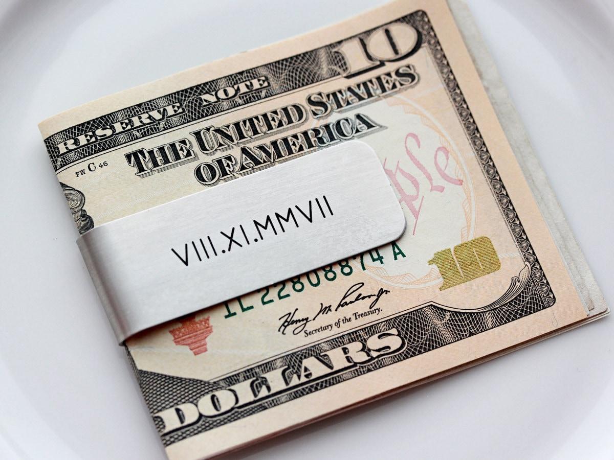 Personalized Laser Engraved Gun Metal Wheat Monogram Money Clip Gift for Him Birthday  Groom Groomsman Best Man   Gift
