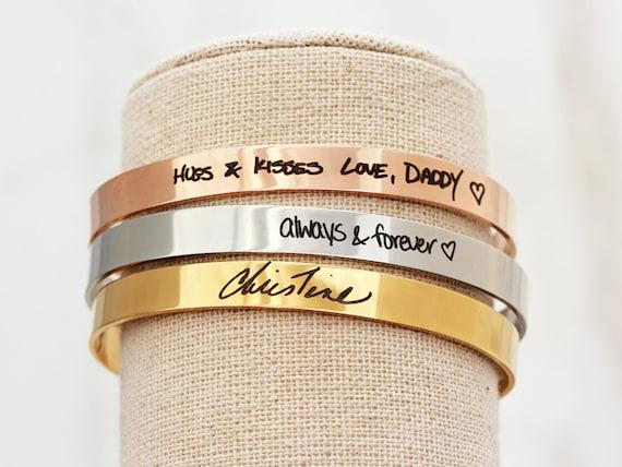 Handwriting Bracelet / Handwriting Jewelry / Actual Handwriting / Signature Cuff Bracelet / Memorial Gift / Personalized Bracelet - Thin HWR