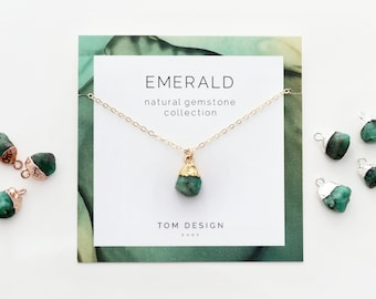 Emerald Necklace / Natural Emerald Gemstone Necklace / May Birthstone / May Birthday Gift / Gift for Her / May Birthday Gift / Gemstone GMS