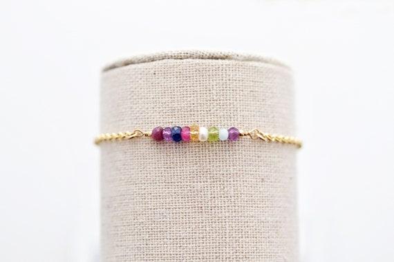 Personalized mom gift Minimalist Moonstone Charm Bar Bracelet Delicate Bracelet with Moonstone