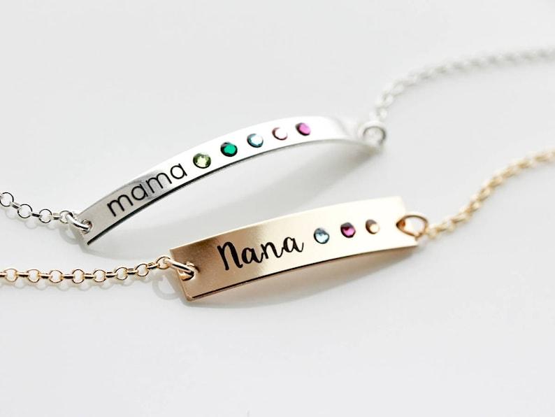 TBR Gift for Mom Personalized Bracelet Birthstones Personalized Birthstone Bracelet Thin Birthstone Bar Bracelet Mother Gift