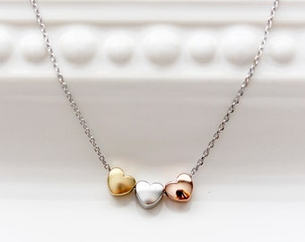 Three Hearts Necklace, Tri Tone Hearts Charm Silver Gold Rose Gold Necklace Bridal Bridesmaid Gift Wedding Heart Jewelry Love Dainty CHM