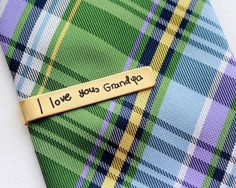 Father's Day Gift - Handwriting Tie Clip, Custom Engraved Tie Bar, Personalized Gift for Men, Custom Tie Bar, Engraved Tie Clip HWR