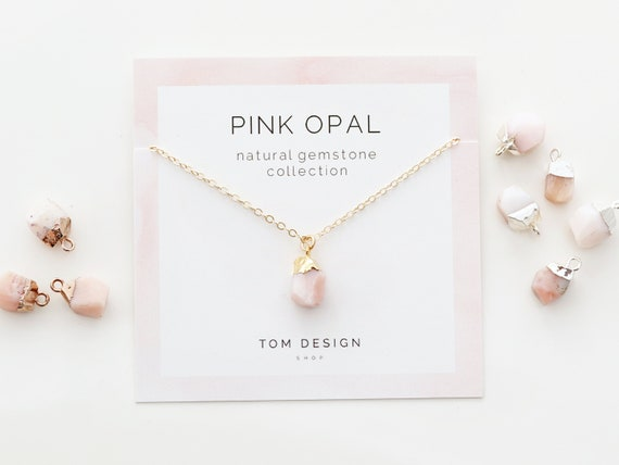 Mom Gift October Birthstone Bridesmaid Gift Light Pink Necklace Mom Birthstone Necklace Grandma Necklace 51 Baby Pink Opal Necklace