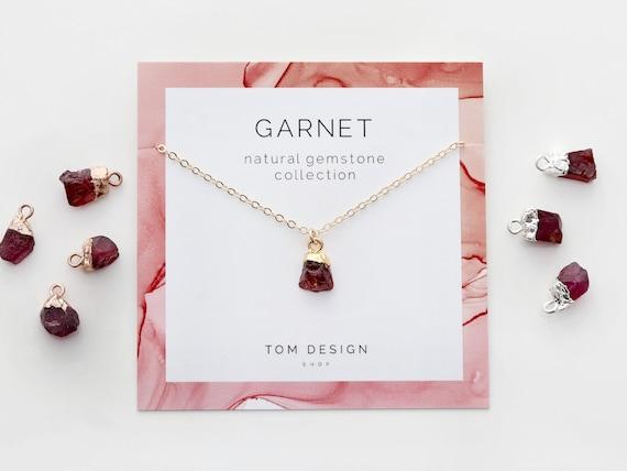 Raw Garnet Birthstone-Garnet Jewelry-January Birthstone Jewelry-Personalized Gifts for Wife-January Birthday Gifts-Raw Stone Jewelry