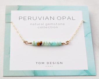 Opal Bar Necklace / Peruvian Opal / Gemstone Necklace / Gemstone Bar Necklace / Birthstone Necklace / October Birthday / Gift for Her / GMS