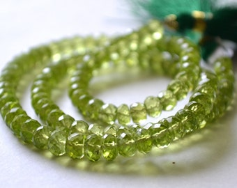 Peridot Faceted Rondelles, 5.5mm.  High Quality. Semi Prescious Gemstone. Your Choice Strand. (7per1). Last Ones