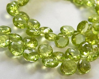 PERIDOT Gemstone Bead. Semi Precious Gemstone Briolette. Faceted Peridot Heart Briolette 6mm. Pairs or NonMatching 1 - 9 Briolettes (53per1)