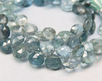 Moss Aquamarine Gemstone. Green-Blue. Semi Precious Gemstone. Translucent, Faceted HEART Briolette. 6 to 7mm, Your Choice  (j3maq1)