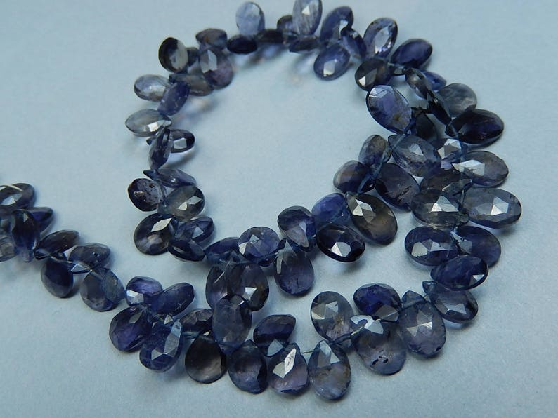 Iolite Gemstone Bead 4-12 Briolettes Faceted Iolite Pear Briolette Last Ones Semi Precious Gemstone 6-8mm