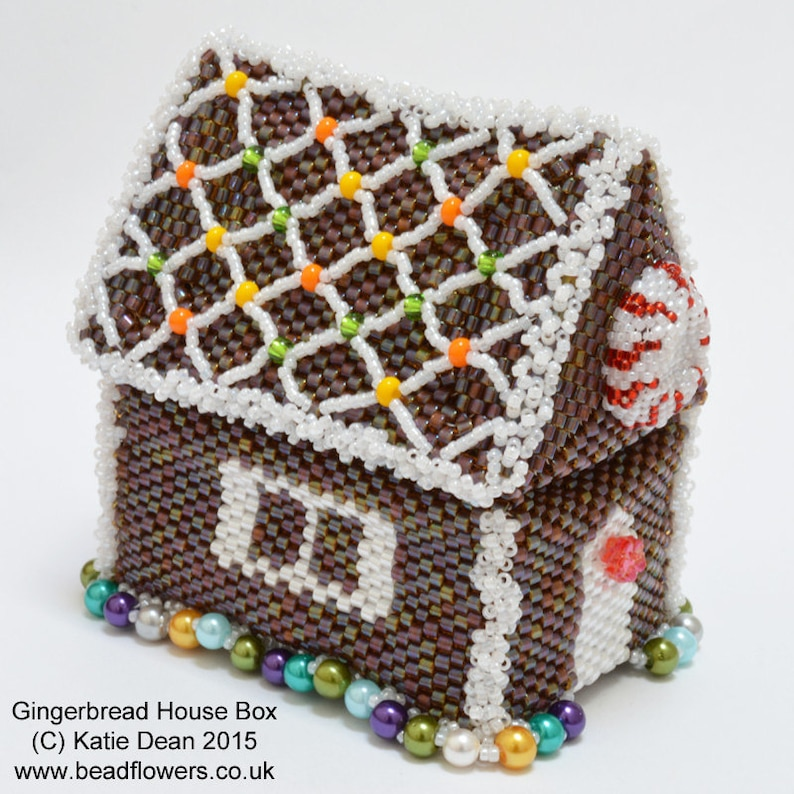 a67f2822a9b Beading Pattern to Make a Gingerbread House Beaded Box | Etsy