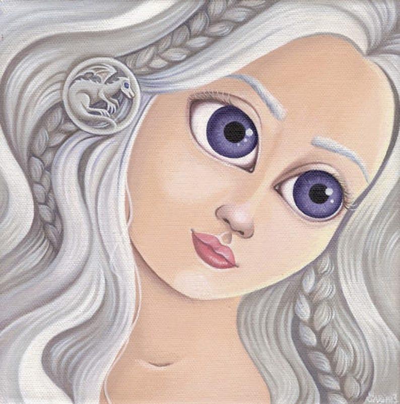 Acrylic paint Daenerys Targaryen and the dragon image 0