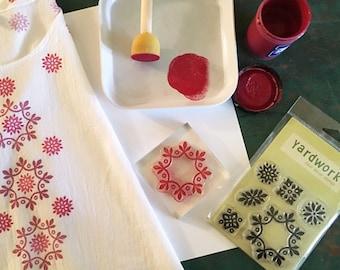 Basic Fabric Printing Kit - Paints Stamps and Blocks - DIY Craft Kit - Starter Kit for Textile Arts