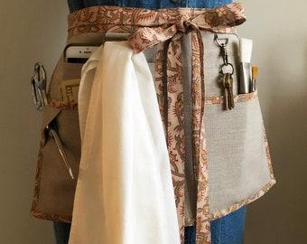 Linen Utility Half Apron for Women - Yardwork Deluxe Utility Apron - Seamstress, Gardening, Crafting, Teaching