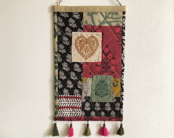 Quilted Wall Hanging with Block Printed Fabric and Patches