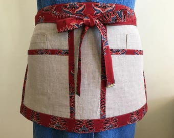 Linen Half Apron - Utility Apron for Women - Deluxe - Small Size - Seamstress - Craft Vendor