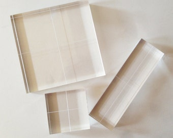 """Acrylic Blocks for Clear Stamps - Fabric Printing Block - Set of 3 - 1/2"""" thick"""