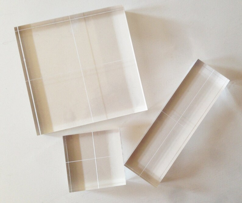 Acrylic Blocks for Clear Stamps - Fabric Printing Block - Set of 3 - 1/2