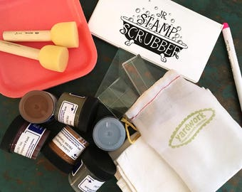 Fabric Printing Kit - Deluxe - DIY Kit - Clear Stamps - Print Your Own Tea Towel
