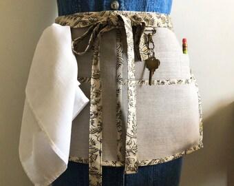 Linen Utility Half Apron for Women - The Yardwork Apron - Seamstress Gift - Gardening, Crafting, Teaching