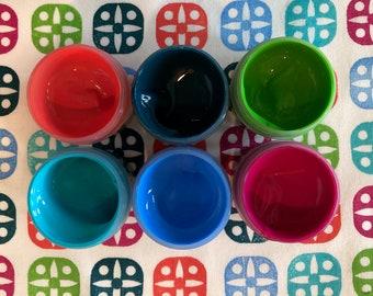 Fabric Paint Set - Caribbean Colors - Starter Set - Fabric Printing - Six Custom Colors
