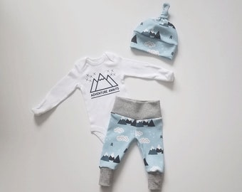 Adventure Awaits Take Home Outfit. Personalized (optional) Baby Boy Coming Home Outfit. Leggings. Top Knot Hat. Newborn Coming Home Outfit.