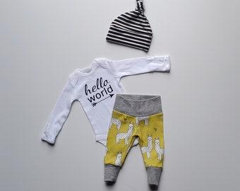 Gender Neutral Coming Home Outfit. Newborn Boy Coming Home Outfit. Gender Surprise Coming Home Outfit. Llama Alpaca. Stripes. hello world.