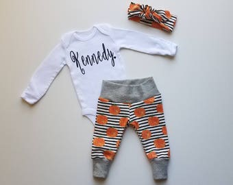Baby Girl Fall Coming Home Outfit. Baby Girl Personalized Coming Home Outfit. Baby Girl Take Home Outfit. Newborn Girl Sip See Outfit.