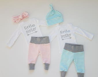 Baby Boy Girl Coming Home Outfit Set. Twin Gender Reveal. Twin Coming Home Outfits.Little Brother. Little Sister. Pink and Blue Stripe