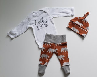 Baby Boy Coming Home Outfit. Newborn Boy Coming Home Outfit Boy. Personalized Baby Boy Gift. Hello World. Rust. Grey. Bears.