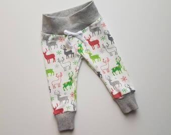 Reindeer Christmas Leggings. Christmas Joggers. Holiday Leggings. Holiday Joggers. Gender Neutral Christmas Leggings.