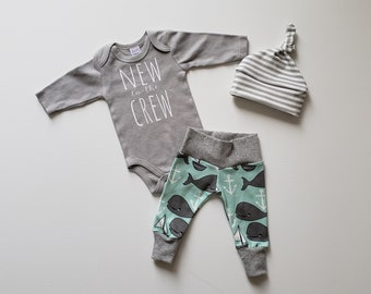 New to the Crew. Baby Boy Coming Home Outfit. Newborn Boy Coming Home Outfit. Baby Boy Outfit. Whale Print and Stripes. Gray Bodysuit/Onesie