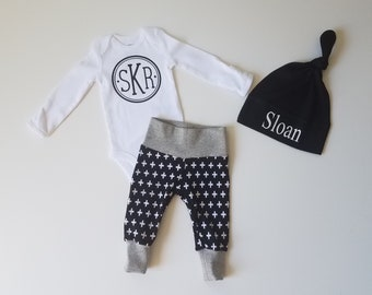 Personalized Baby Boy Coming Home Outfit. Newborn Boy Coming Home. Monogrammed Baby Bodysuit. Personalized Hat. Black Plus Sign.