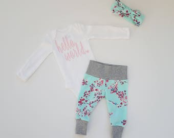 Baby Girl Coming Home Outfit. Newborn Girl Coming Home Outfit. Personalized Coming Home Outfit Girl. Hello World. Aqua Floral Vine.