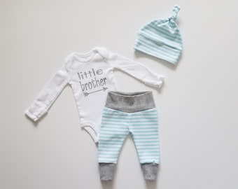 c4e28d77c5c80 Baby Boy Newborn Take Home Outfit. Coming Home Outfit. Baby Boy Outfit Gift  Set. Boy Coming Home Outfit. Little Brother. Bright Blue Stripe.