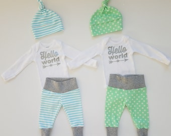 Matching Baby Boy Coming Home Outfits Set. Twin Gender Reveal. Twin Baby Announcement. Newborn Boy Coming Home Outfits. Hello World.