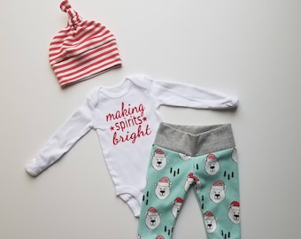 My First Christmas Coming Home Outfit. Christmas Boy Coming Home Outfit. Baby Boy Coming Home Outfit.  Christmas Bears.
