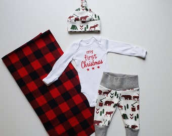 Baby Boy Christmas Coming Home Outfit. Newborn Boy Coming Home Outfit. Personalized Baby My First Christmas. Buffalo Plaid Baby Blanket.