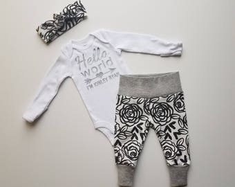 Personalized Baby Girl Coming Home Outfit. Newborn Girl Coming Home Outfit. Coming Home Outfit Baby Girl. Hello World. Black & White Rose.
