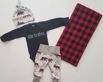 Baby Boy Coming Home Outfit. Newborn Boy Coming Home Outfit. Boy Coming Home Outfit. Coming Home Outfit Boy. Little Brother Buffalo Plaid.