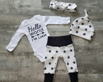 Boy Girl Neutral Personalized Coming Home Outfit. Hello World Stars & Arrows. Gender Neutral Bring Home Baby Outfit. Baby Boy Take Home Set