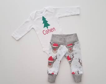 Christmas Newborn Personalized Coming Home Outfit. Baby Boy Christmas Outfit. Personalized Baby Christmas Outfit. Rudolph Hipster Reindeer.