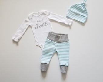 Personalized Baby Boy Coming Home Outfit. Newborn Boy Coming Home Outfit. Personalized Coming Home Outfit Boy. meet _____ Baby Name Reveal.