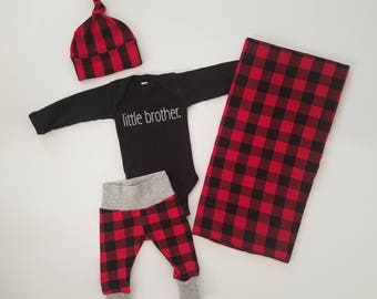 Baby Boy Coming Home Outfit. Newborn Boy Coming Home Outfit. Personalized Boy Coming Home Outfit. Little Brother Buffalo Plaid.