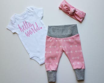 Baby Girl Coming Home Outfit. Pink with White Arrows. Girl Sip and See Outfit. Baby Girl Take Home Outfit. Newborn Girl Coming Home Outfit.