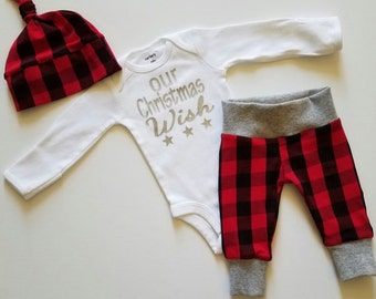Baby's First Christmas Outfit. Baby Boy First Christmas Personalized Outfit. Christmas Coming Home Outfit. Buffalo Plaid.