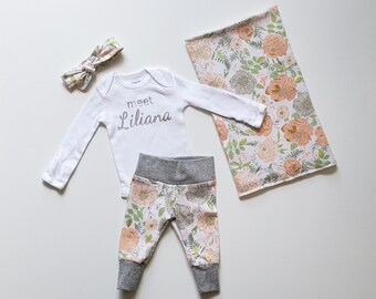 Personalized Baby Girl Coming Home Outfit. Newborn Girl Coming Home Outfit. Sip and See Outfit. Peachy Pink Floral. Swaddle.